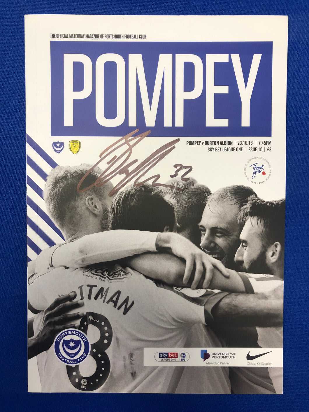Signed Ben Thompson Portsmouth FC Match Day Programme Versus Burton Albion FC
