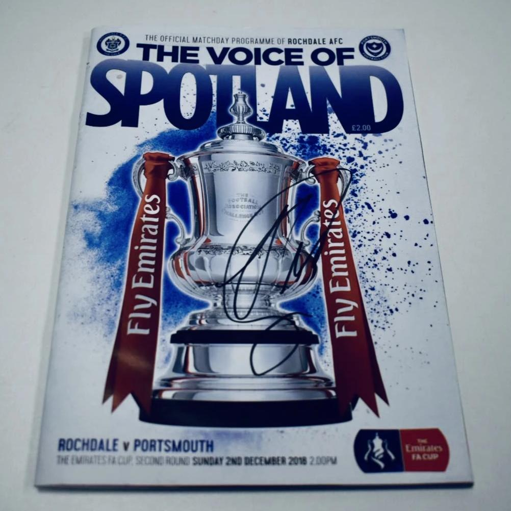 Signed by Andre Green Portsmouth FC FA Cup Match Day Programme Versus Rochdale AFC