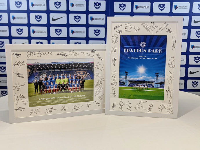 Signed & Framed Team Photo & Fratton Park Print Bundle