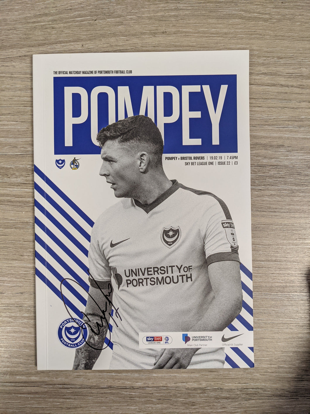 Pompey V Bristol Rovers 2019 Programme Signed by Dion Donohue