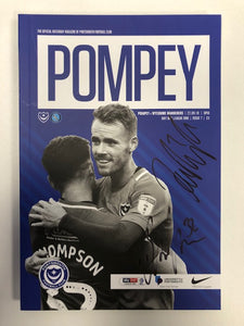 Signed Portsmouth FC Match Day Programme Versus Wycombe Wanderers FC