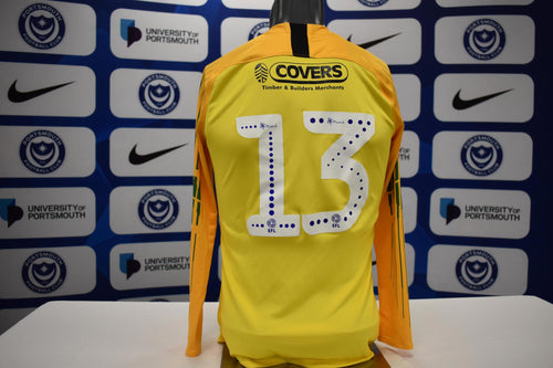 Yellow No.13 2018/19 prepared & matchworn pre-season & U23's Goalkeeper shirt