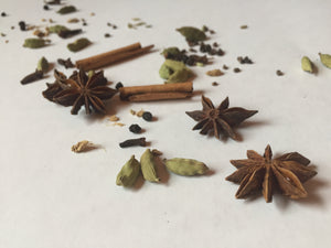 Chai Spices: Cinnamon, Cardamom Pods, Ginger, Star Anise, Cloves, Cardamom Seeds, Fennel, Peppercorns