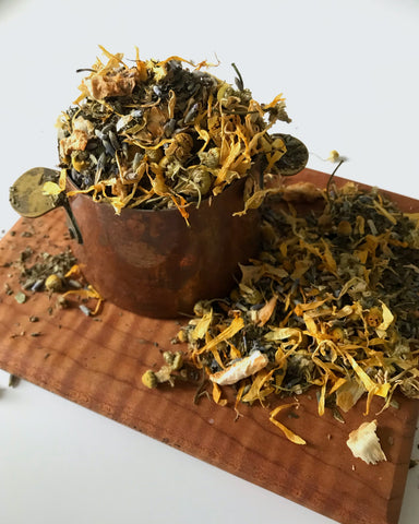 Mom's Garden Blend: a beautiful herbal blend of spearmint, orange peel, lavender, chamomile and calendula.