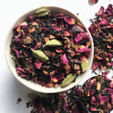 Shanti Chai & Co's Rose Petal Chai: Assam tea, rose petals, cardamom pods, cinnamon and caco make this delicious chai that can be enjoyed hot or iced!