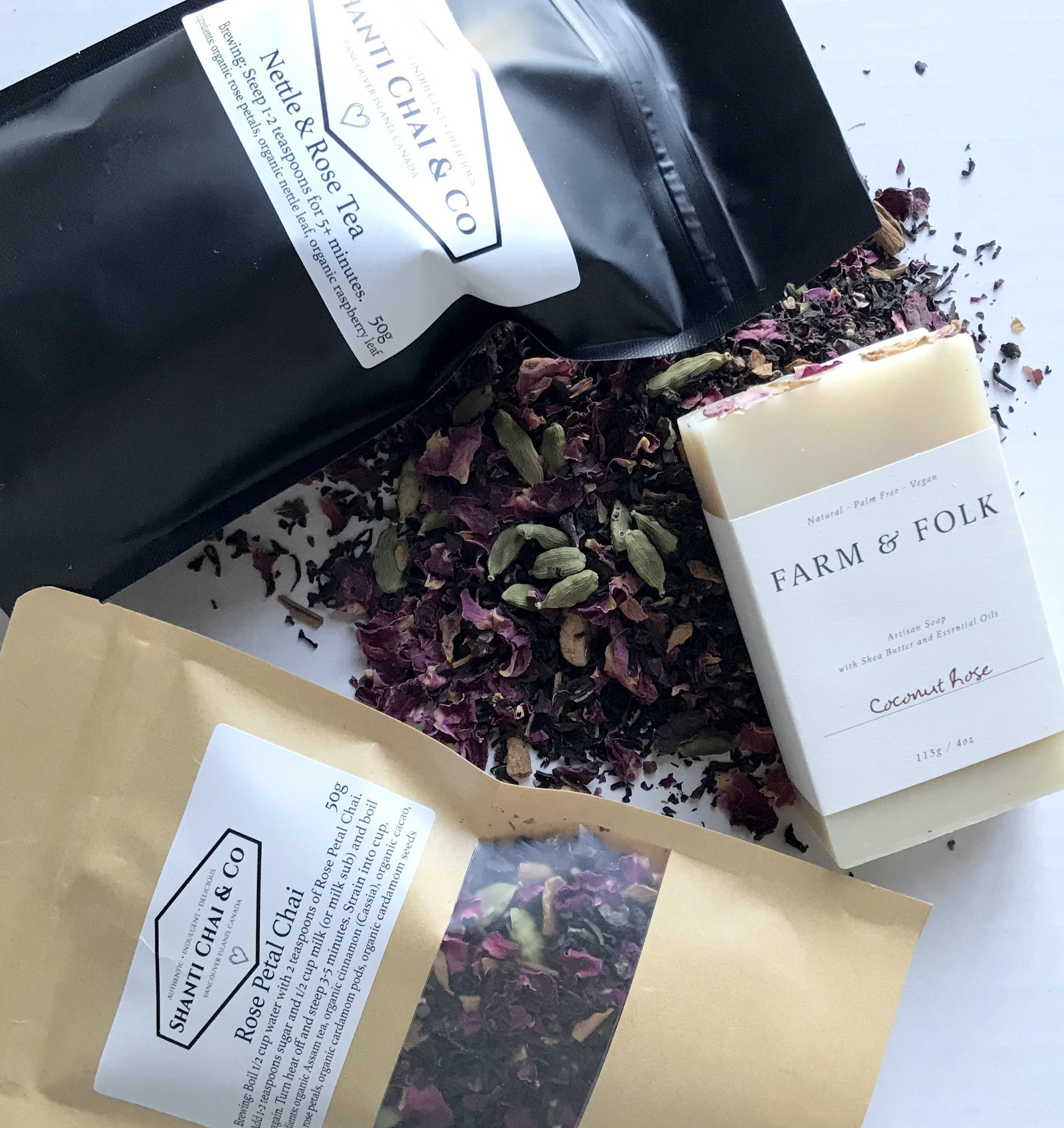 "Shanti Chai & Co's ""All Rose"" Gift Set includes our Nettle & Rose Tea, Rose Petal Chai and Coconut Rose Soap from Farm & Folk."