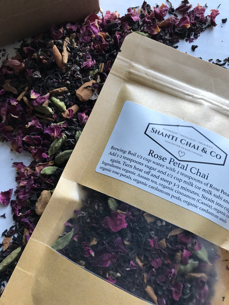 Shanti Chai & Co's Rose Petal Chai, a delicate and aromatic chai including rose petals, cardamom pods, cinnamon, Assam tea and cacao.
