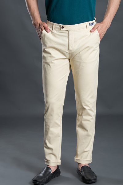 Jaune Citron Yellow Stretch Washed Men Chinos