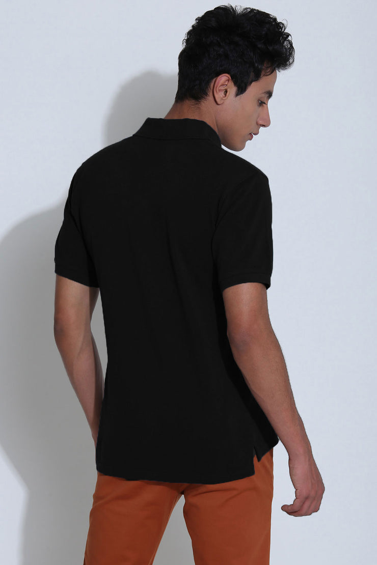 Englewood Black Pique Men's Polo Tshirt