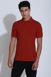 Japanese Carmine Red Pique Men's Polo Tshirt
