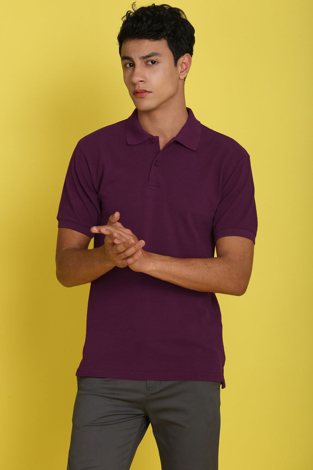 Nebraska Violet Plum Pique Men's Polo Tshirt