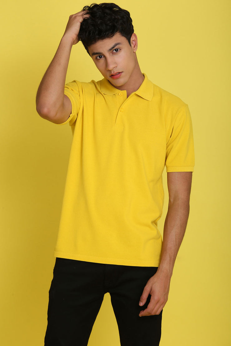 Tuscan Sun Yellow Pique Men's Polo Tshirt