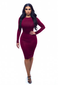Sweater Weather Dress - Burgundy