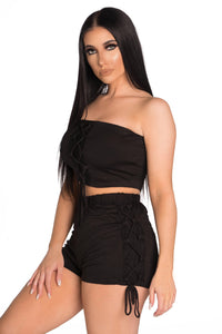 Tie Me Down Two Piece Set - Black