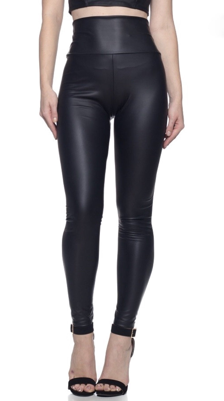 Faux Leather High Waist Leggings - Black