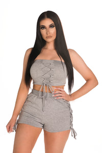 Tie Me Down Two Piece Set - Grey