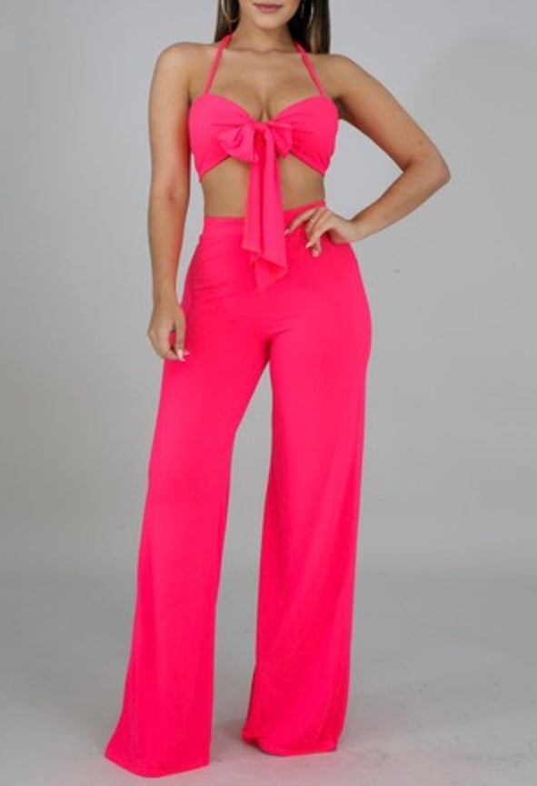Take Me Away Two Piece Set - Neon Pink