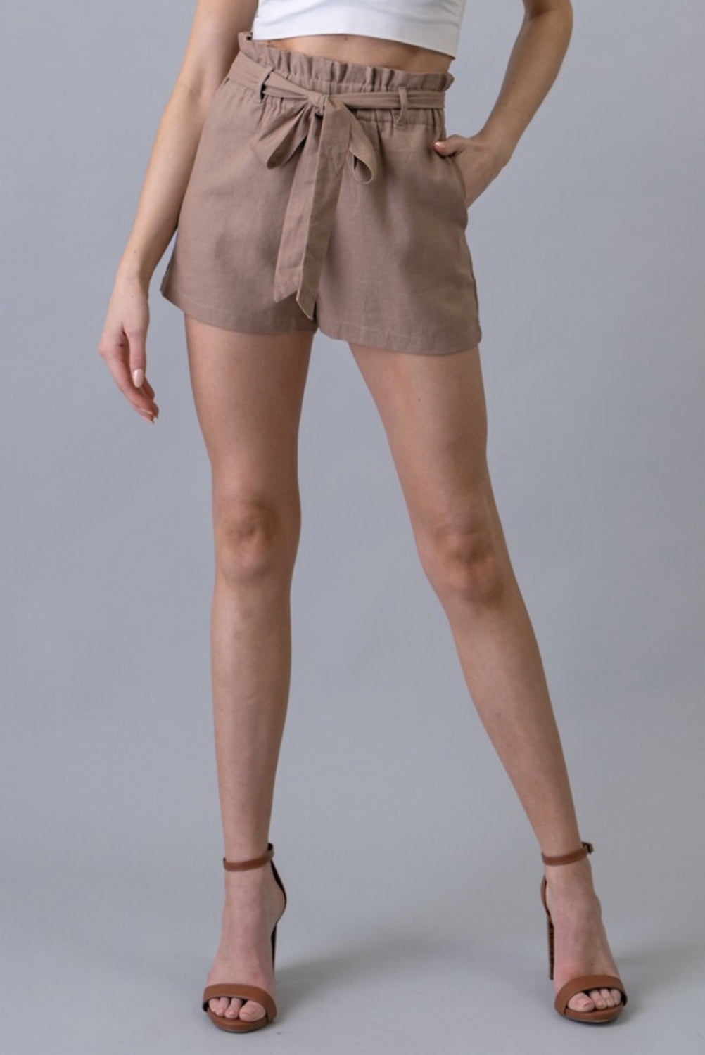 Sitting Pretty Paper Bag Shorts - Tan