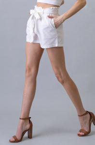 Sitting Pretty Paper Bag Shorts - White