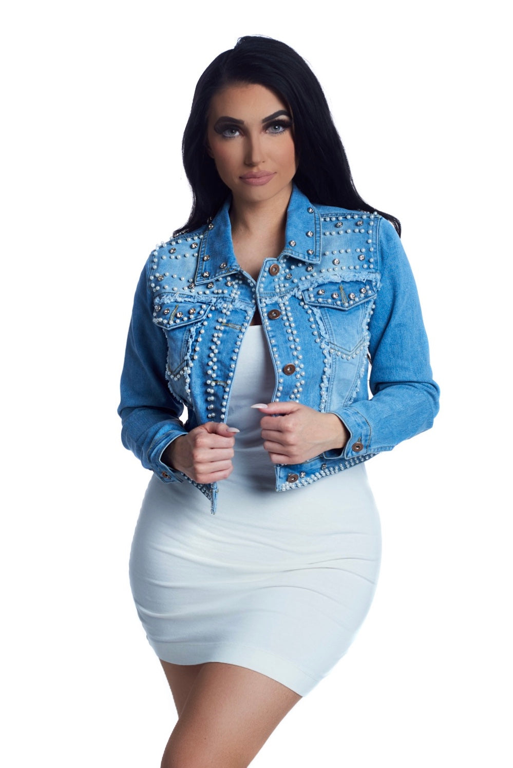 Pretty In Pearls Denim Jacket