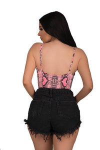 For The Love Of Snakeskin Bodysuit - Pink