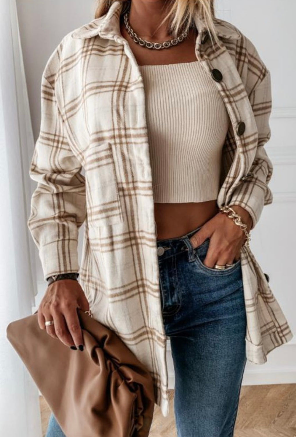 Coffee And Cream Flannel - Brown/White
