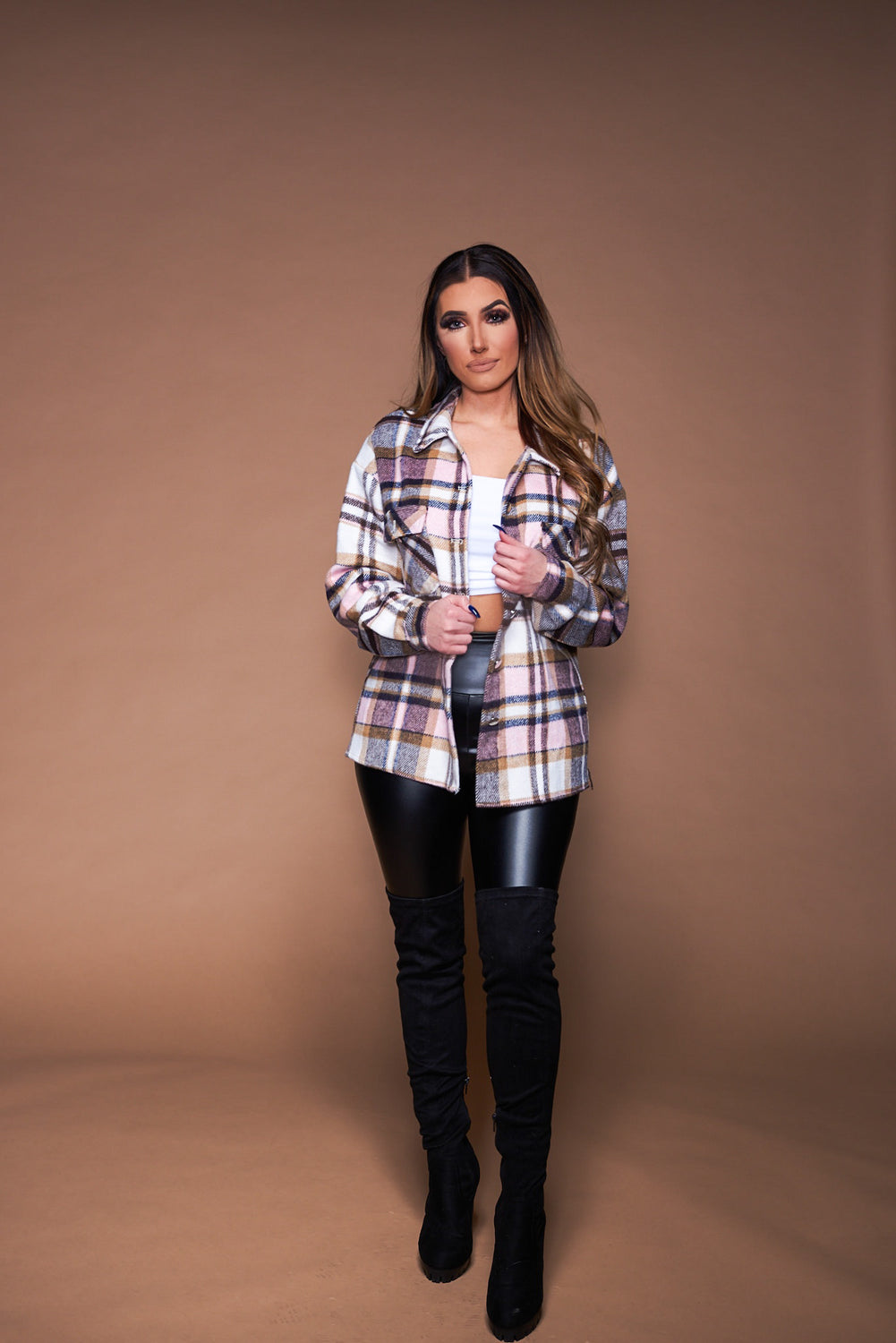 The Kristen Flannel - Pink/Brown Plaid
