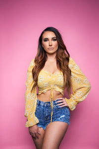 The Bella Top - Yellow/Floral