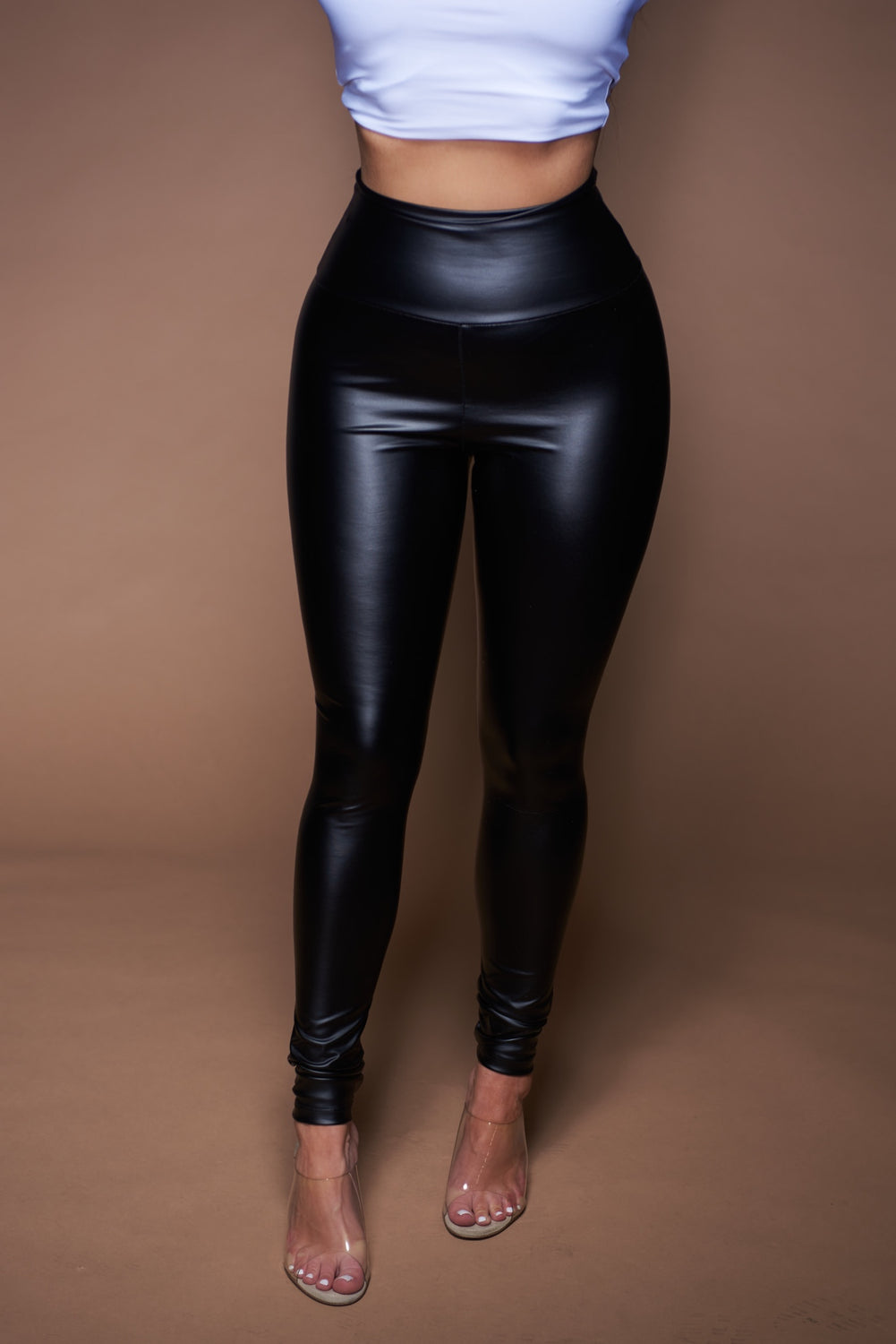 The Audrina Leggings - Black Leather