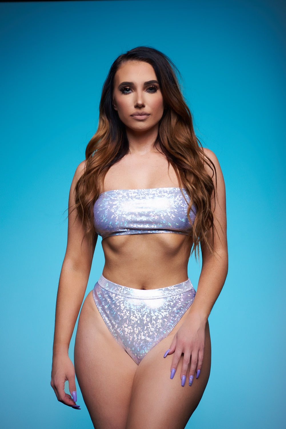 Shine On Em Two Piece Swimsuit - Silver