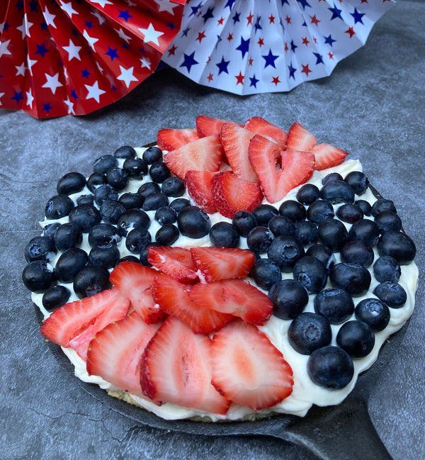 Red White and Blueberry Shortbread Cookie Skillet