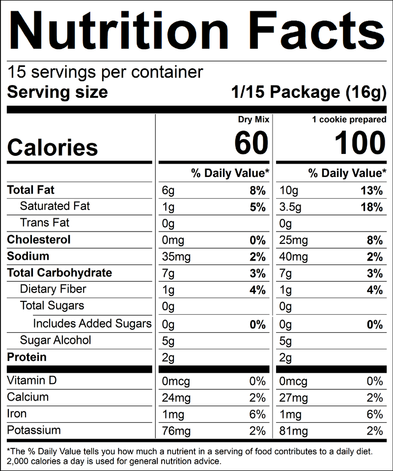 Keto Chocolate Chip Cookie Baking Mix Nutrition Panel by Kalifornia Keto