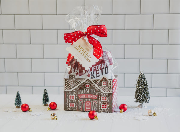 Keto Christmas Cookie Bundle in Gingerbread Box with Trees and Ornaments