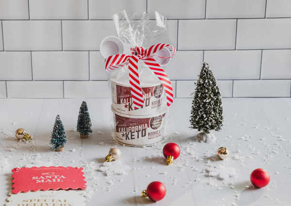 Keto Cookie Cup Christmas Bundle with Ribbon, Measuring Spoon, Note, Trees, and Ornaments