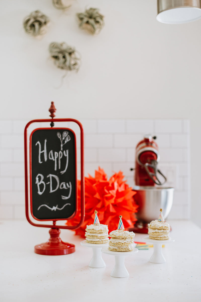 Happy Birthday Celebration with Keto Birthday Cake Cookie Sandwiches, Sign, and Mixer