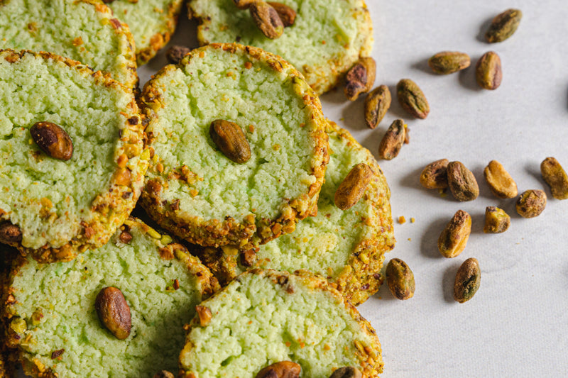 Pistachio Keto Butter Cookies Rolled in Chopped Pistachio Nuts