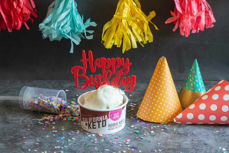 Ice Cream Topped Keto Birthday Cake Cookie Celebration with Popper, Confetti, Hats, Streamers, and Sprinkles by Kalifornia Keto