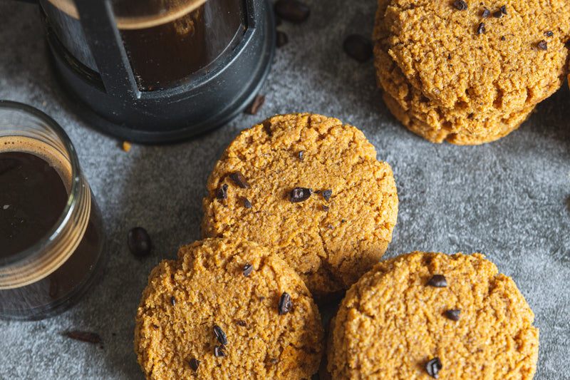 Pumpkin Spice Latte Keto Cookies with Coffee and Crushed Coffee Beans