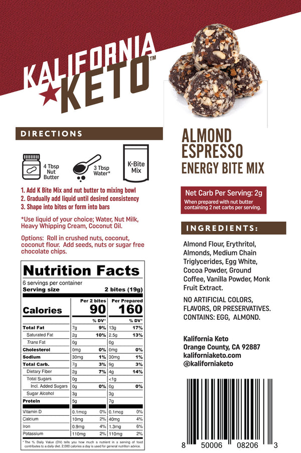 Keto Almond Espresso No Bake Energy Bite Fat Bomb Mix Nutrition Panel