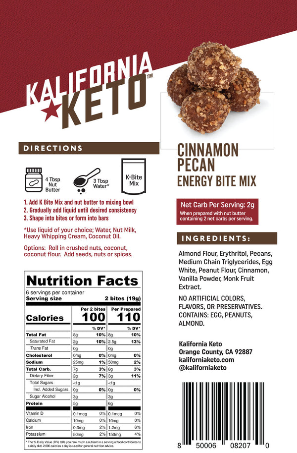 Cinnamon Pecan Keto No Bake Energy Bite Fat Bomb Mix Nutrition Panel