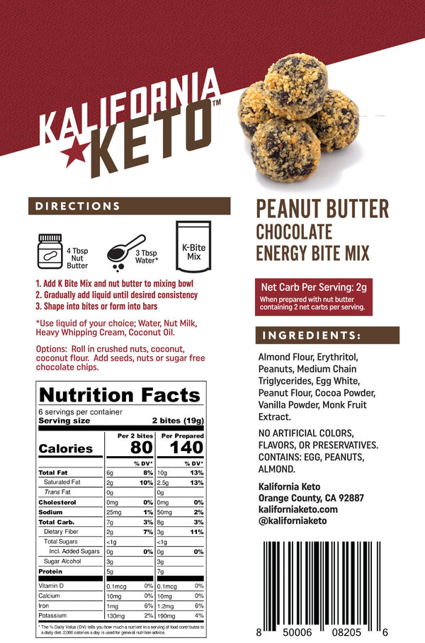 Peanut Butter Chocolate Keto No Bake Energy Bite Fat Bomb Mix Nutrition Panel