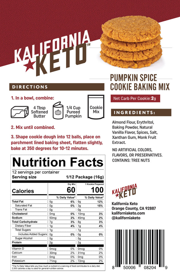 Keto Pumpkin Spice Cookie Baking Mix Nutrition Panel by Kalifornia Keto