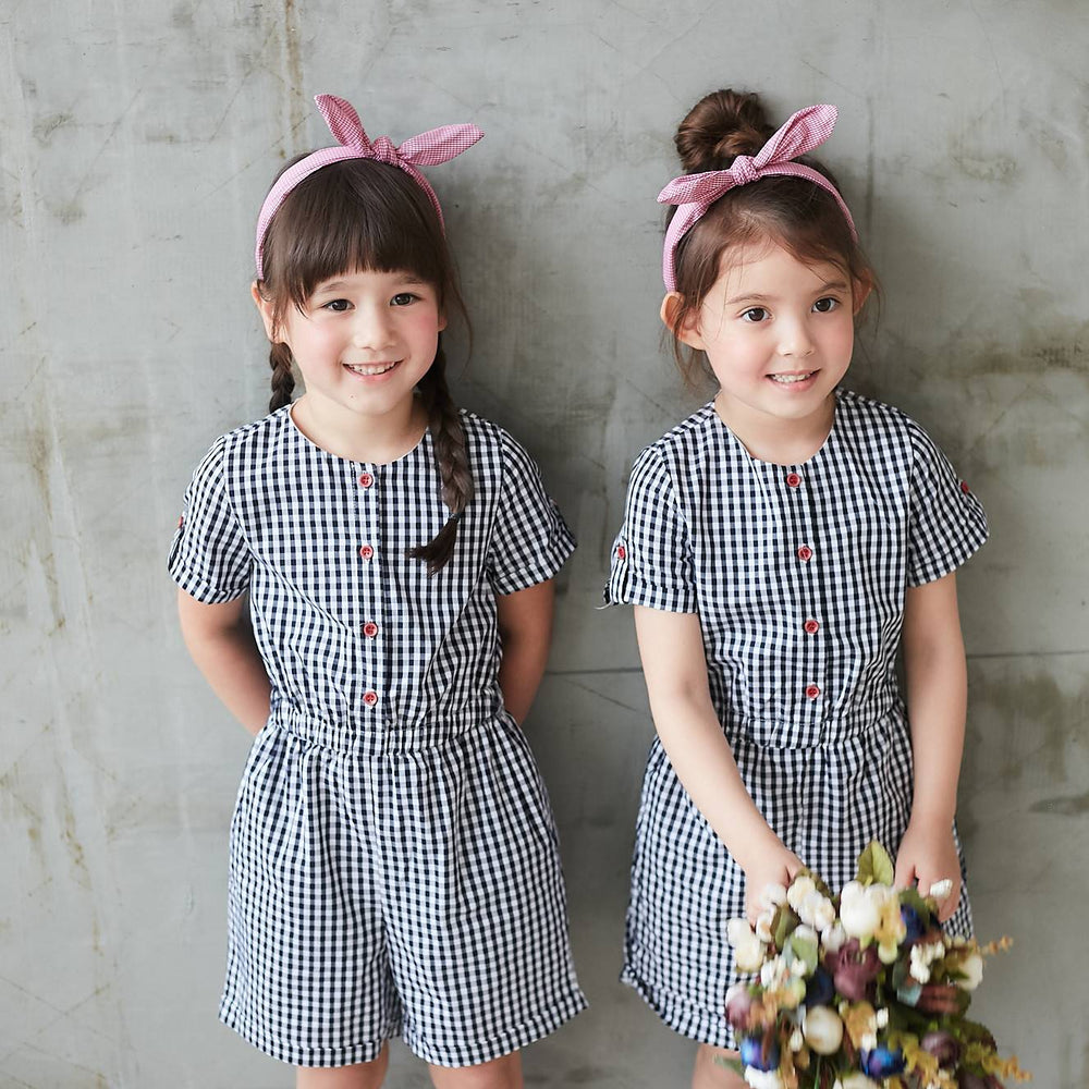 Gingham Romper twin set