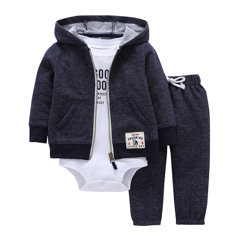 Infant long sleeve hooded jacket, pant & rompers set