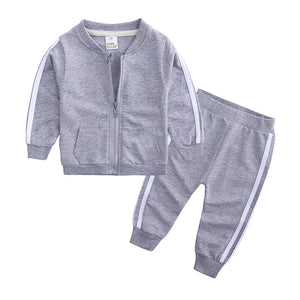 Solid Zipper Tracksuit For Infants