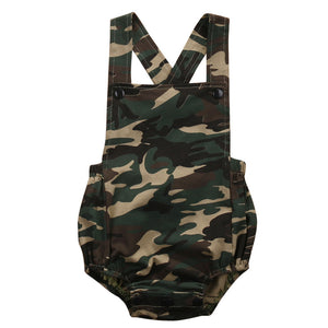 Cotton Newborn/Infant Unisex Sleeveless Camouflage Jumpsuit