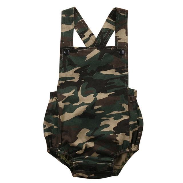 Newborn Sleeveless Camouflage Jumpsuit