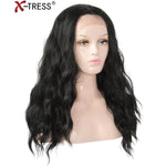 Natural Black Lace Front Wigs With Baby Hair Long Wavy Glueless Heat Resistant Free Part Synthetic Hair Wigs