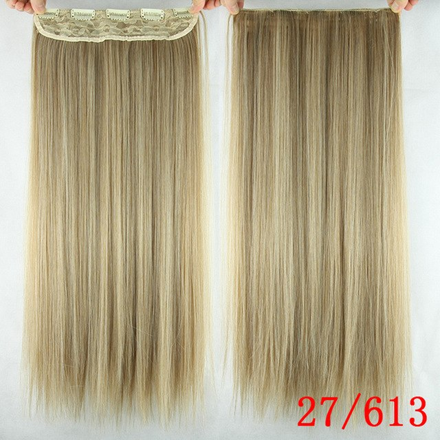 Soowee 24inch Long Ombre Hair Straight Women Natural Black Clip-in One Piece Synthetic Clip In Hair Extensions Synthetic Extensions