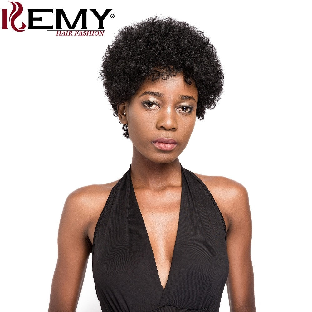 Short Human Hair Wigs Afro Kinky Wave Brazilian Non-Remy Hair Fashion Wigs Natural Black Red Color For Women